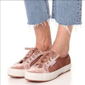 Superga Crushed Velvet Blush Pink Lace Up Sneakers